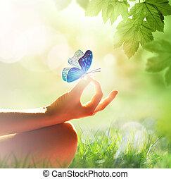 pose yoga, herbe, femme méditer, main