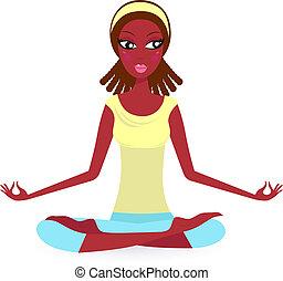 pose yoga, -, isolé, américain, femme, pratiquer, blanc, afro
