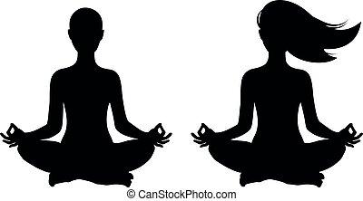 pose yoga, lotus, femmes, vecteur, silhouette, isolé