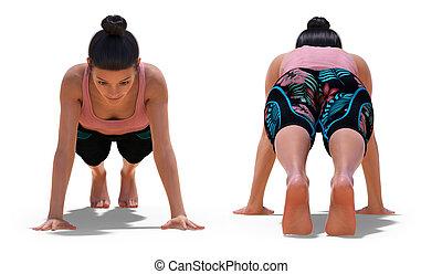 pose yoga, planche, femme, devant, dos, poses