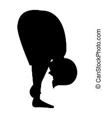 pose yoga, silhouette, icône, homme