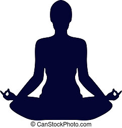 Pose Yoga Silhouette Isolated On White Background