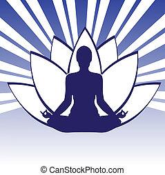 Pose Yoga Silhouette Whith Lotos - Pose Yoga Silhouette ...