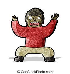 pose, yoga, spotprent, man