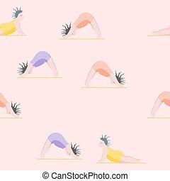 pose, yoga, yoga., modèle, seamless, filles, femme
