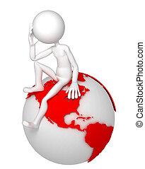 pose., zittende , globe, nadenkend, aarde, man, 3d