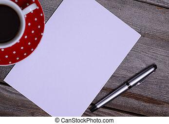 poseer, texto, papel, blanco, listo, su
