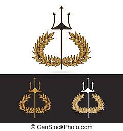 poseidon, ブランチ, シンボル, ギリシャ語, オリーブ, trident, 神