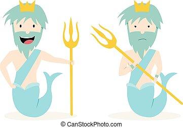 poseidon, bóg, od, przedimek określony przed rzeczownikami, morze, w, wektor, sztuka, projektować