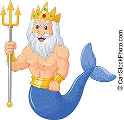 Poseidon cartoon - vector illustration of Poseidon cartoon