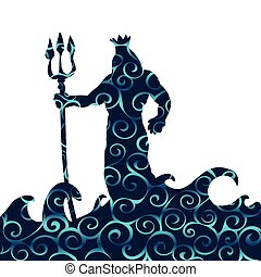 Poseidon god pattern silhouette ancient mythology fantasy