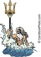 poseidon - illustration sea god Neptune or Poseidon, comes...