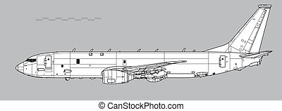 poseidon, missiles., desenho, anti-ship, esboço, boeing, p-8...