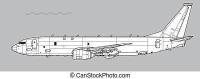 poseidon, missiles., tekening, anti-ship, schets, boeing, p-8, harpoen, vector