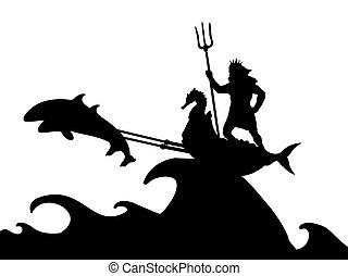 Poseidon Neptunus god dolphin chariot silhouette ancient mythology fantasy