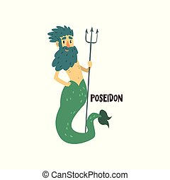Poseidon Olympian Greek God, ancient Greece mythology character vector Illustration on a white background