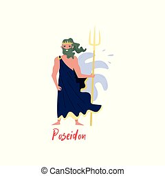 Poseidon Olympian Greek God, ancient Greece myths cartoon character vector Illustration on a white background