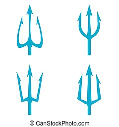 Poseidon s Trident set. Vector logo on white background.