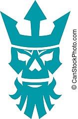 Poseidon Skull Wearing Crown Icon - Icon style illustration...