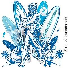 poseidon, surfboard, fundo, surfista