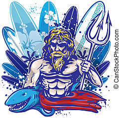 poseidon surfer with surfboard