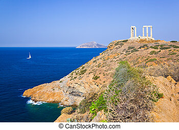 Poseidon Temple near Athens, Greece - Poseidon Temple at...