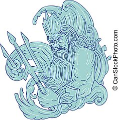 Poseidon Trident Waves Drawing - Drawing sketch style...