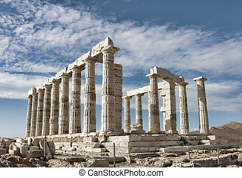 Poseidon\'s Temple at Kato Sounio in Attiki region, Greece