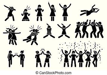 posen, frau, gestures., m�dchen, weibliche , oder, feier
