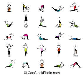 posen, leute, joga, dein, üben, design, 25