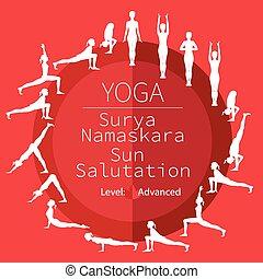 posen, namaskara, joga, surya
