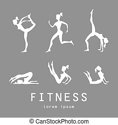 posen, silhouetten, vektor, joga, illustration., set., frauen, klasse, zentrieren, studio