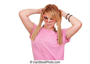 poser, adolescent, masque, girl