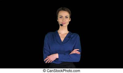 poser, appareil photo, femme, alpha, casque à écouteurs, centre, appeler, canal