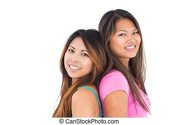 poser, appareil photo, filles, deux, asiatique