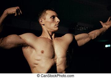 poser, beau, culturiste, gym.