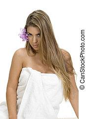 poser, blond, femme, serviette, sexy