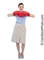 poser, boxe, gai, femme affaires, gants, rouges