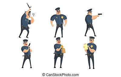 poser, caractères, public, uniforme, situations, ensemble, sécurité, illustration, différent, officier, mâle, rigolote, vecteur, dessin animé, policier