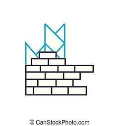 poser, contour, illustration, signe, symbole, ligne, coup, vecteur, mince, icon., concept., brique, linéaire