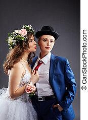 poser, couple, mariés, studio, lesbienne