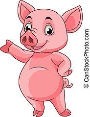 poser, dessin animé, cochon
