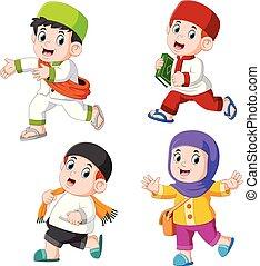 poser, différent, musulman, groupe, enfants