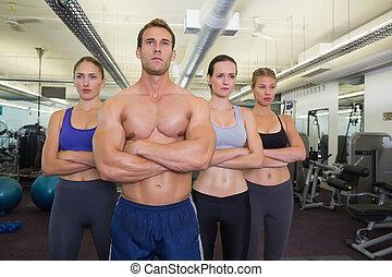 poser, ensemble, fitness, sérieux, classe
