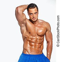 poser, fitness, studio, homme