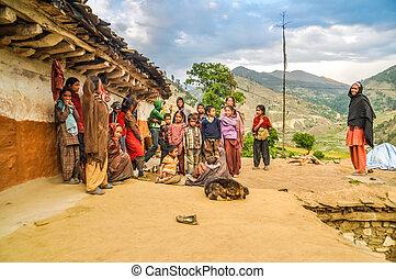 poser, groupe enfants, dans, népal