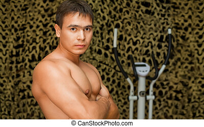 poser, gymnase, appareil photo, fort, muscles, culturiste, formation