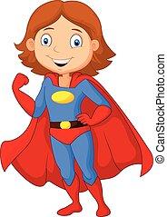 poser, héros, femme, dessin animé, super