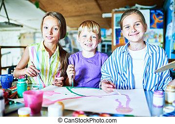 poser, heureux, art, enfants, classe