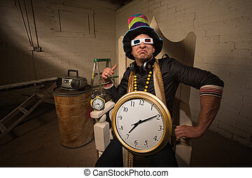 Poser in Large Hat and Clock - Pouting rapper in throne with...
